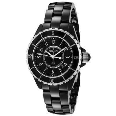0011e6e84 Chanel Watches: Women's J12 Black Lacquered Dial Black High-Tech Ceramic  H0682 Main Image