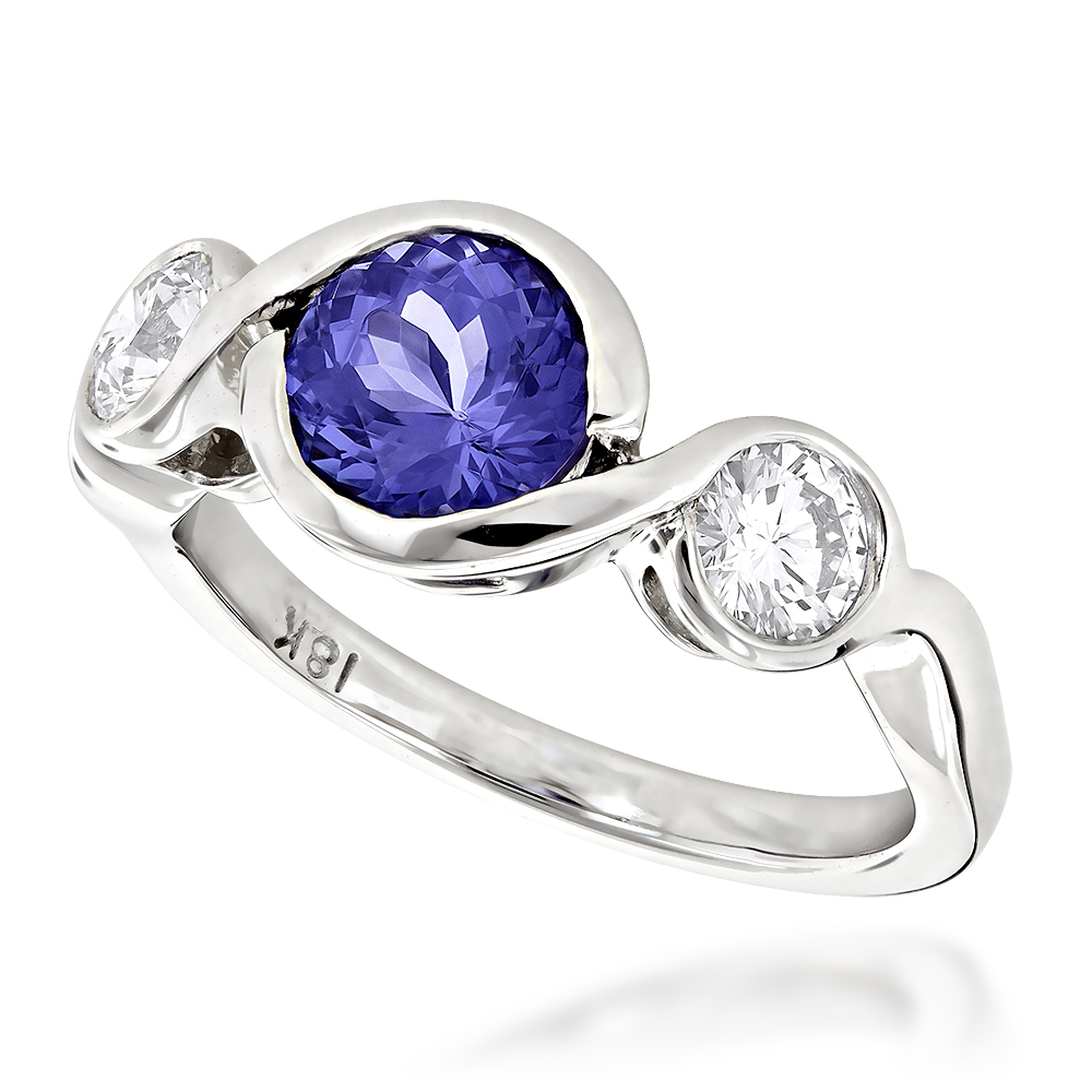 unique round cut tanzanite and diamond engagement ring 18k. Black Bedroom Furniture Sets. Home Design Ideas