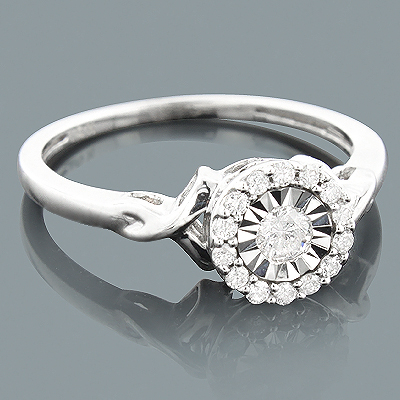 10k Gold 0.27CT Diamond Engagement Ring with 1 Carat Look Main Image