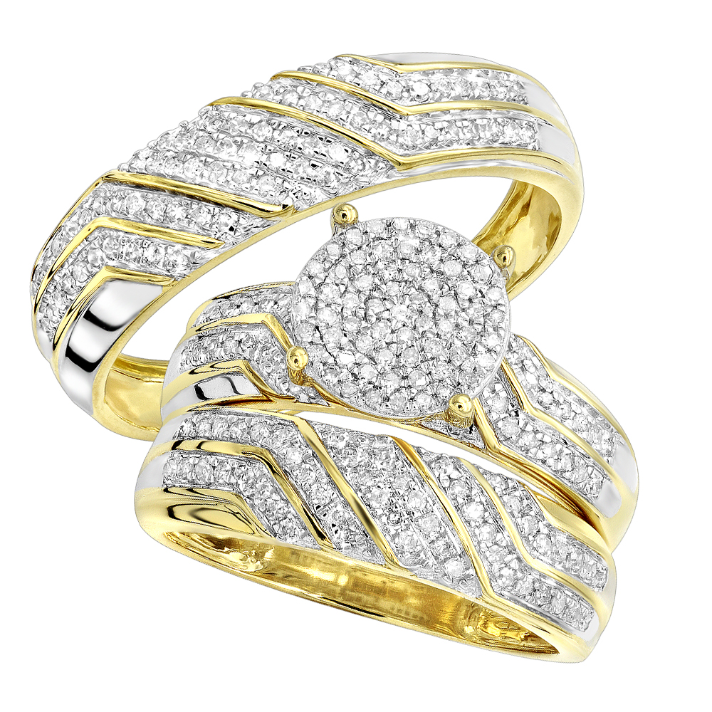 10K Gold 0.7CT Round Diamond Engagement Ring and Wedding Band Bridal Set Yellow Image