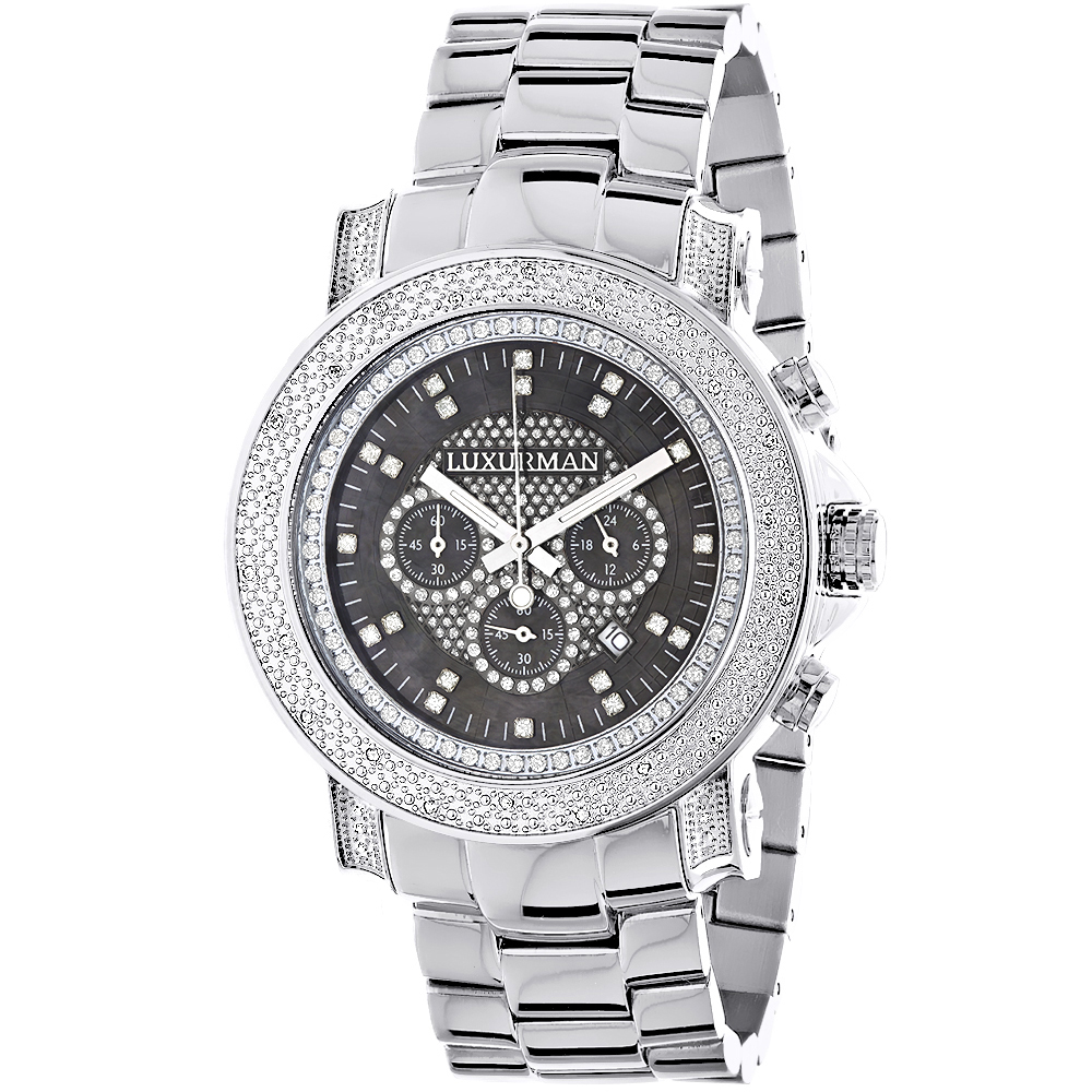 Chronograph Luxury Diamond Watch for Men 0.75ct Luxurman Black MOP Escalade
