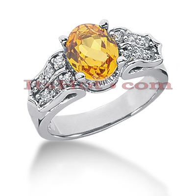 Citrine Rings: 14K Gold Ladies Diamond Ring 0.24ctd 2ctc Main Image