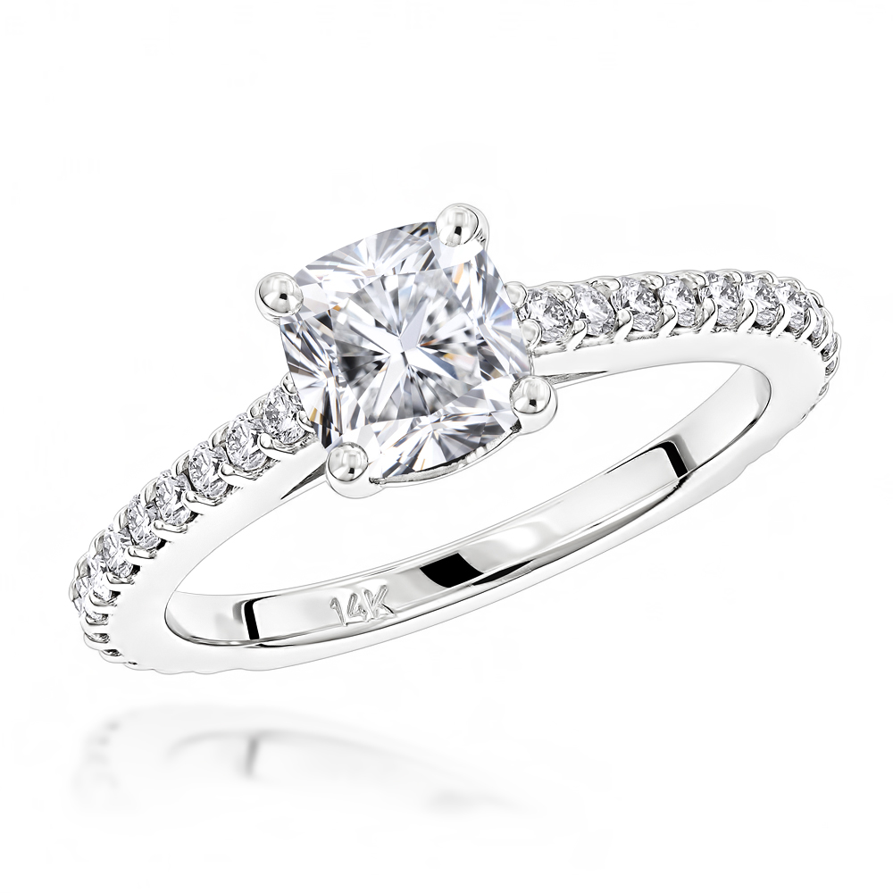 Classic 14K Gold Cushion Diamond Engagement Ring by Luxurman 1.4ct G/VS White Image