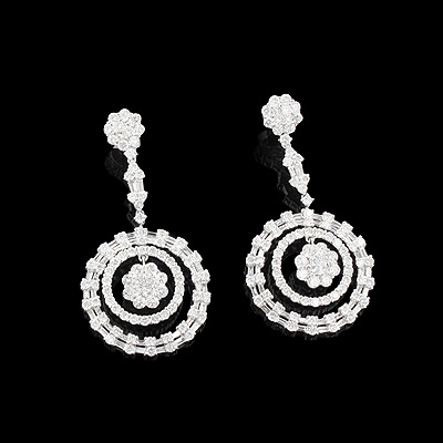 Cluster Diamond Circle Earrings 7.44ct 18K Gold