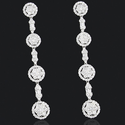 Cluster Diamond Dangle Earrings 5.36ct 18K Gold