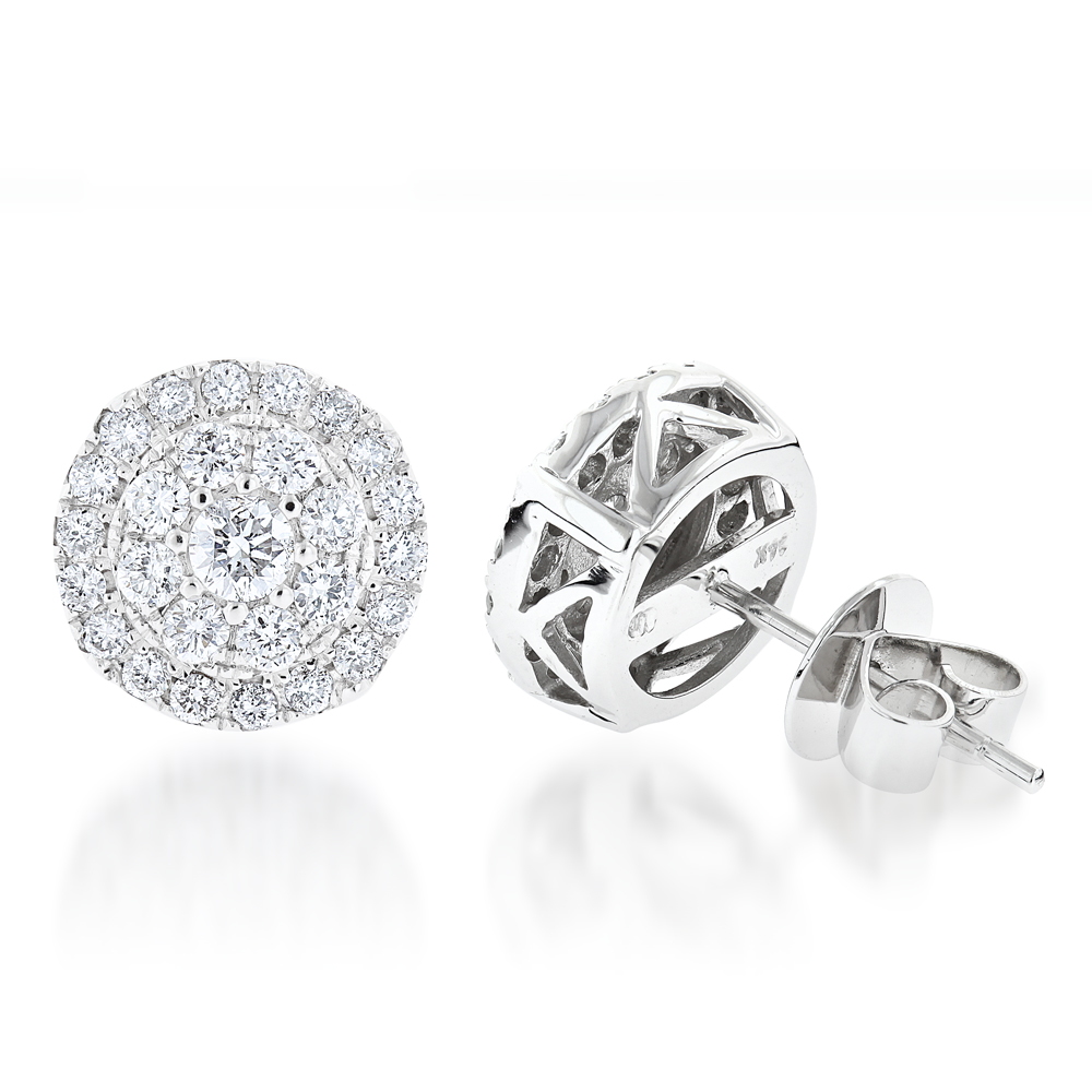 Cluster Diamond Earrings Studs G color VS Clarity by Luxurman 1.5ct White Image