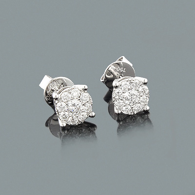 Cluster Diamond Stud Earrings 0.7ct 18K Gold