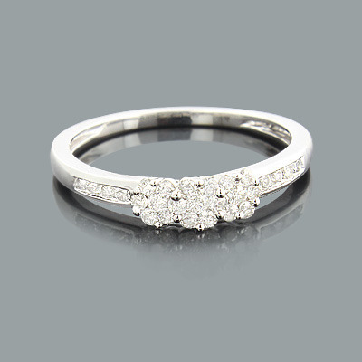 Thin Cluster Rings: Ladies Diamond Flower Ring 0.34ct 14K Gold Main Image