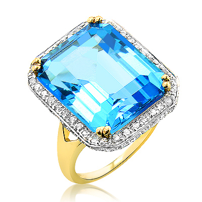 Cocktail Rings: Large Blue Topaz Ring with Diamonds 14K Gold