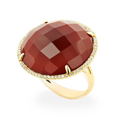 Cocktail Rings: Large Red Agate Ring with Diamonds 14K