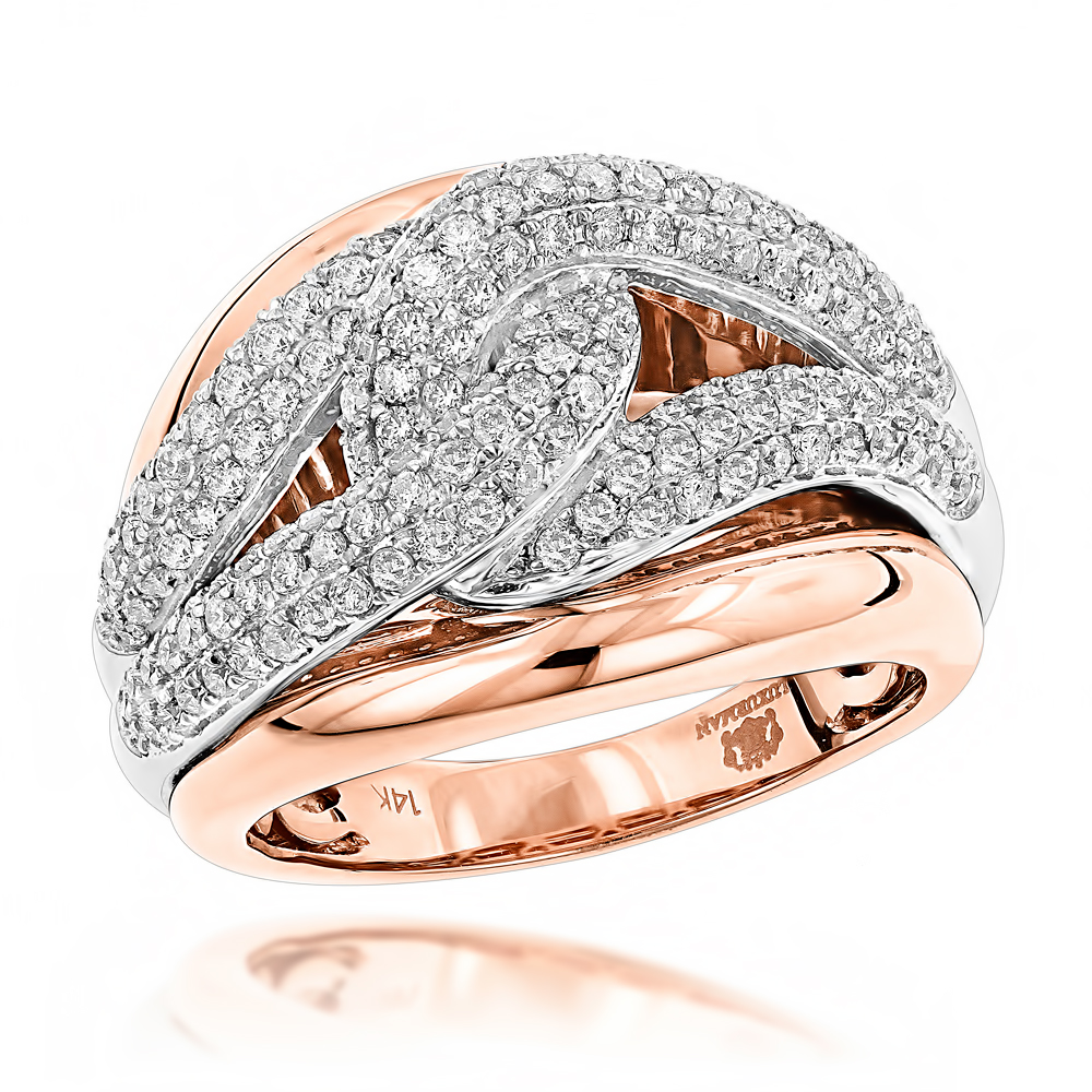 Cocktail RIngs: Luxurman Love Knot Diamond Ring for Women 14K Gold 1.25ct Rose Image