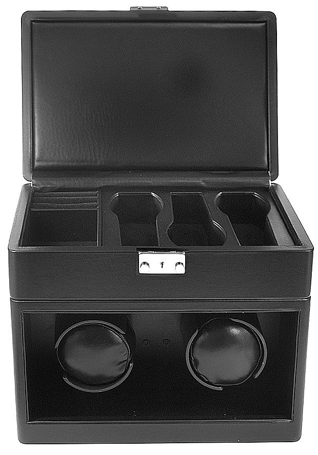 Collectors Watches: Black Dual Watch Winder and Storage Box WW-1102