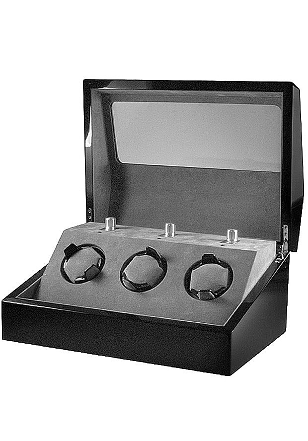 Collectors Watches: Multi-Function Black 3 Slot Watch Winder WW-1004-P1-03 Collectors Watches: Multi-Function Black 3 Slot Watch Winder WW-1004-P1-03