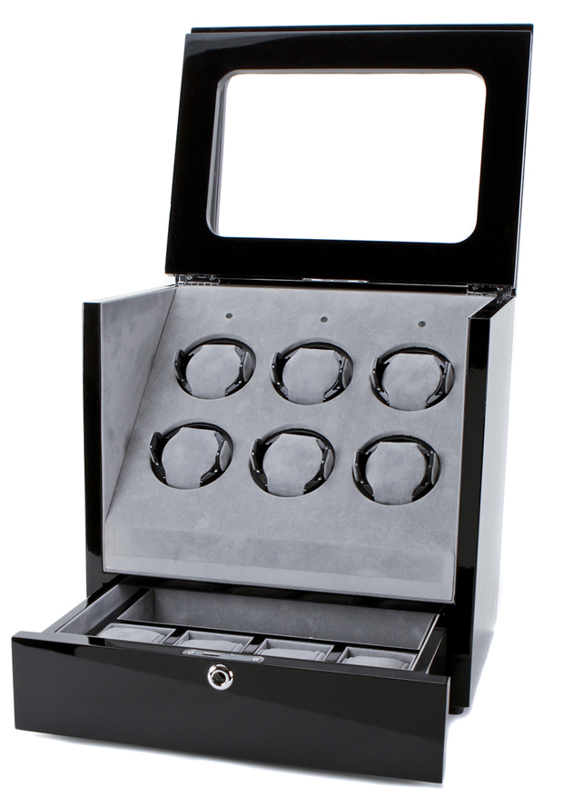 Collectors Watches: Multi-Function Black 6 Slot Watch Winder WW-1005-P1-03 Collectors Watches: Multi-Function Black 6 Slot Watch Winder WW-1005-P1-03