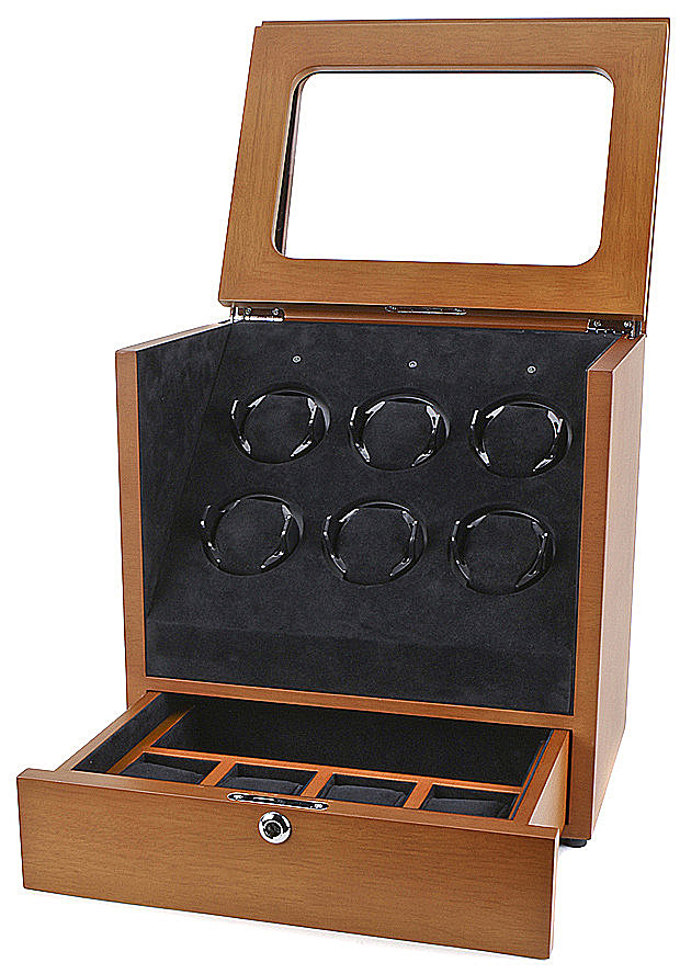 Collectors Watches: Multi-Function Brown 6 Slot Watch Winder WW-1005-P2-10 Collectors Watches: Multi-Function Brown 6 Slot Watch Winder WW-1005-P2-10