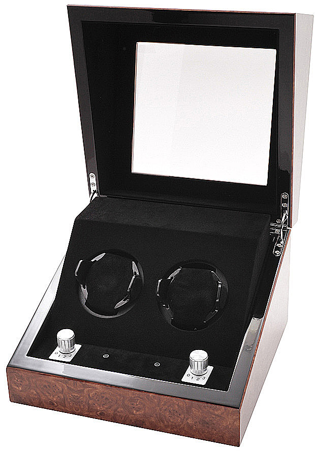 Collectors Watches: Multi-Function Chestnut Dual Slot Watch Winder WW-1003-P11-10 Collectors Watches: Multi-Function Chestnut Dual Slot Watch Winder WW-1003-P11-10