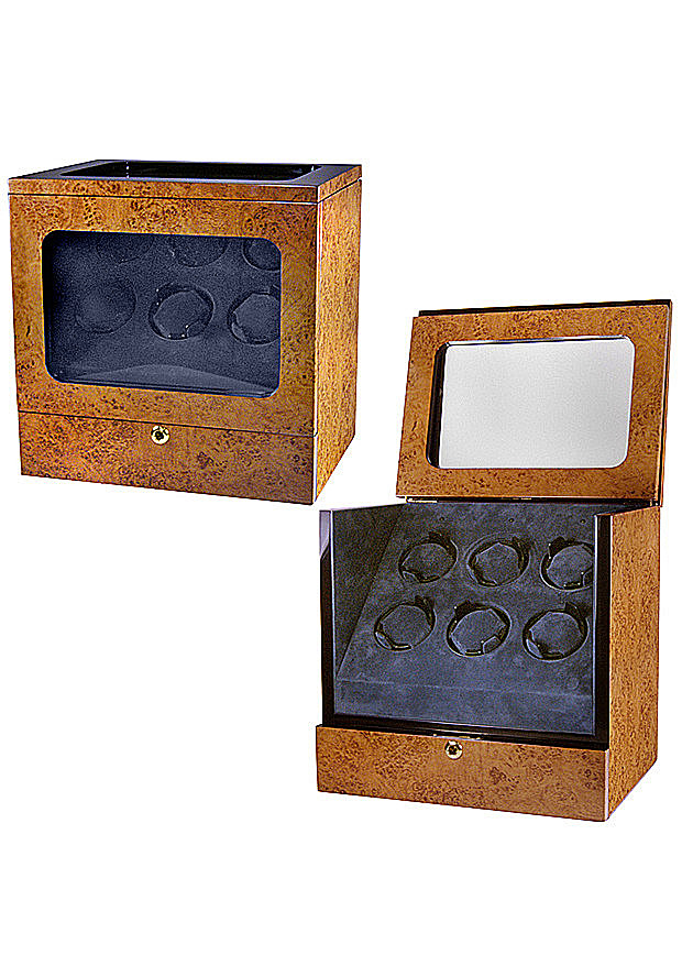 Collectors Watches: Multi-Function Light Burlwood Brown 6 Slot Watch Winder WW-1005-P11-11