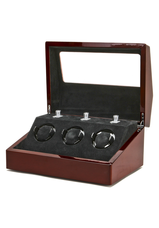 Collectors Watches: Multi-Function Mahogany 3 Slot Watch Winder WW-1004-P1-08 Collectors Watches: Multi-Function Mahogany 3 Slot Watch Winder WW-1004-P1-08