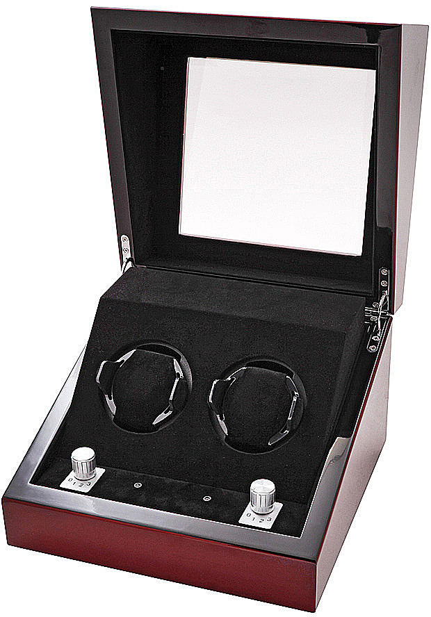 Collectors Watches: Multi-Function Mahogany Dual Slot Watch Winder WW-1003-P1-08