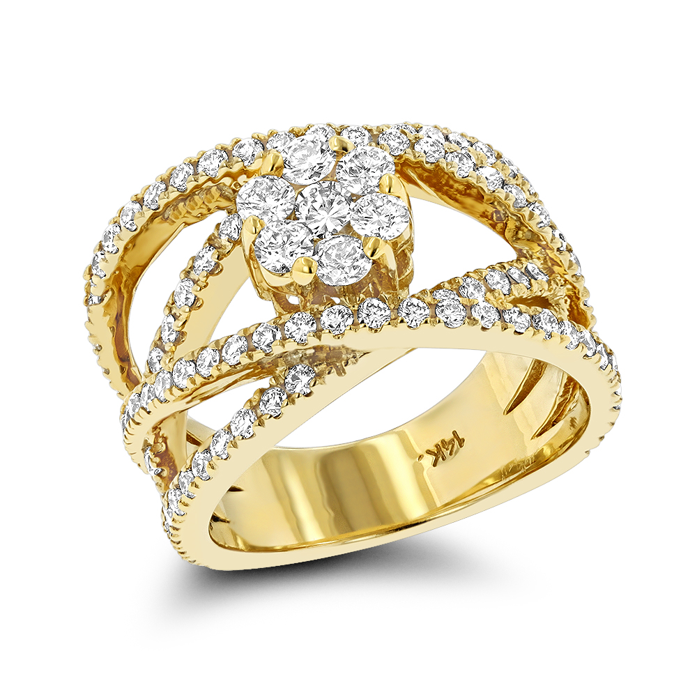 Criss Cross Flower Rings 14K Gold Right Hand Diamond Womens Ring 1.33ct Yellow Image