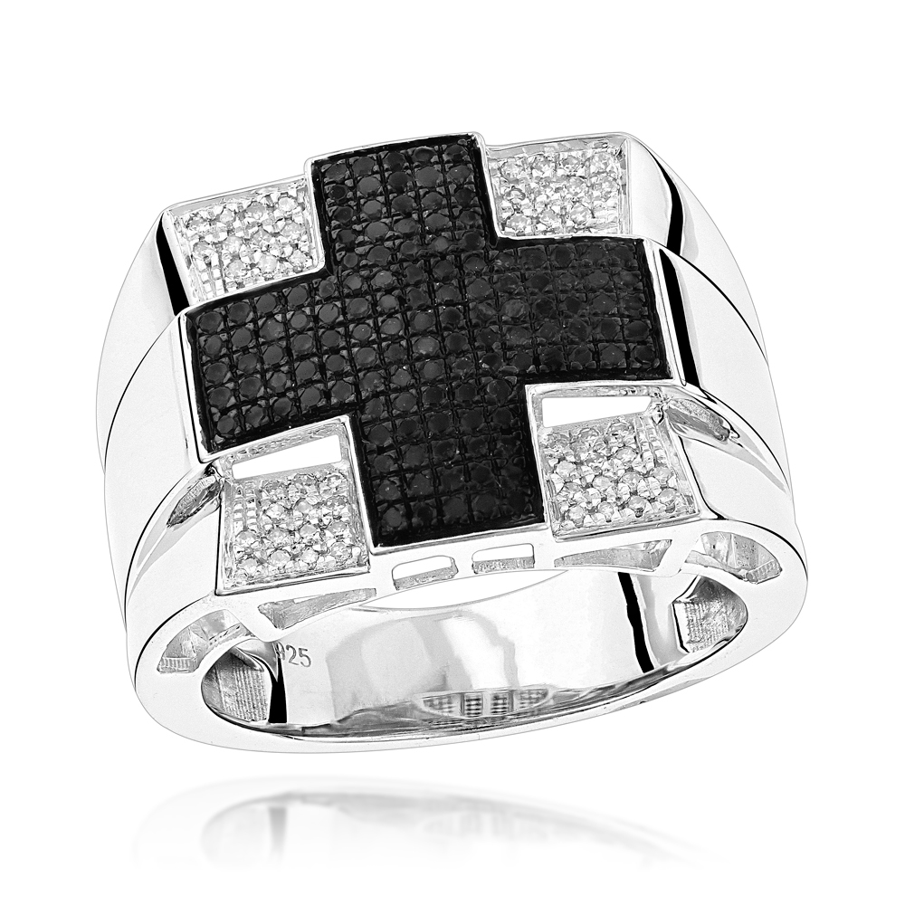 Cross Rings: Mens White Black Diamond Ring 0.6ct Sterling Silver