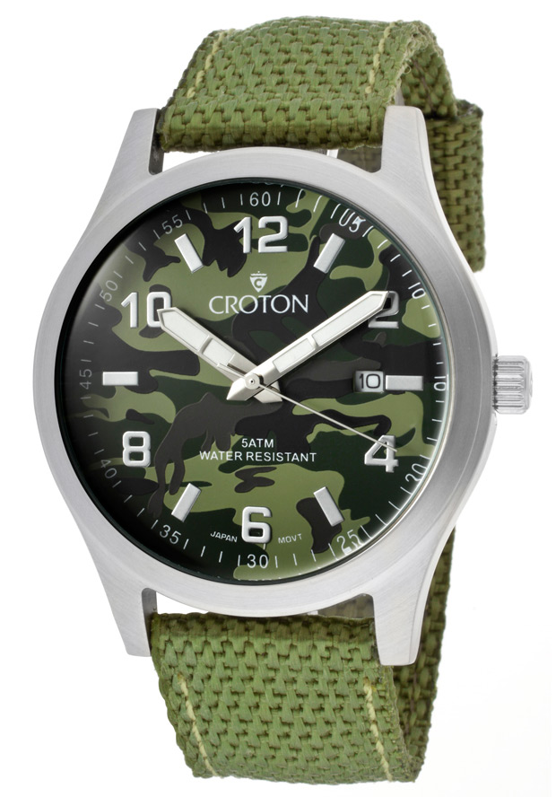 Croton Watches: Men's Military Green Camouflage Dial Green Woven Nylon CA301234LGGR Main Image