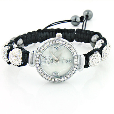 Crystal Watch on a Disco Ball Bracelet with White Rhinestones