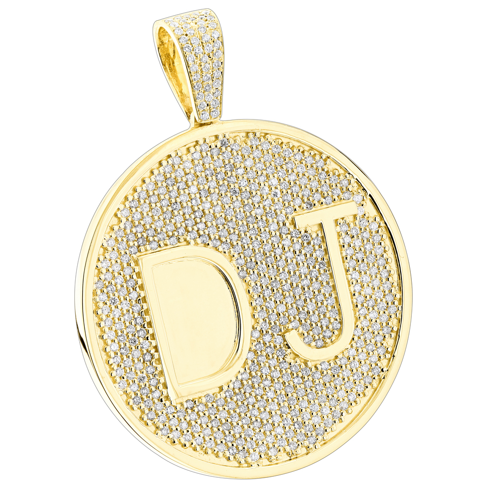 Custom 10k yellow gold diamond dj pendant for men with initials 65ct aloadofball Image collections