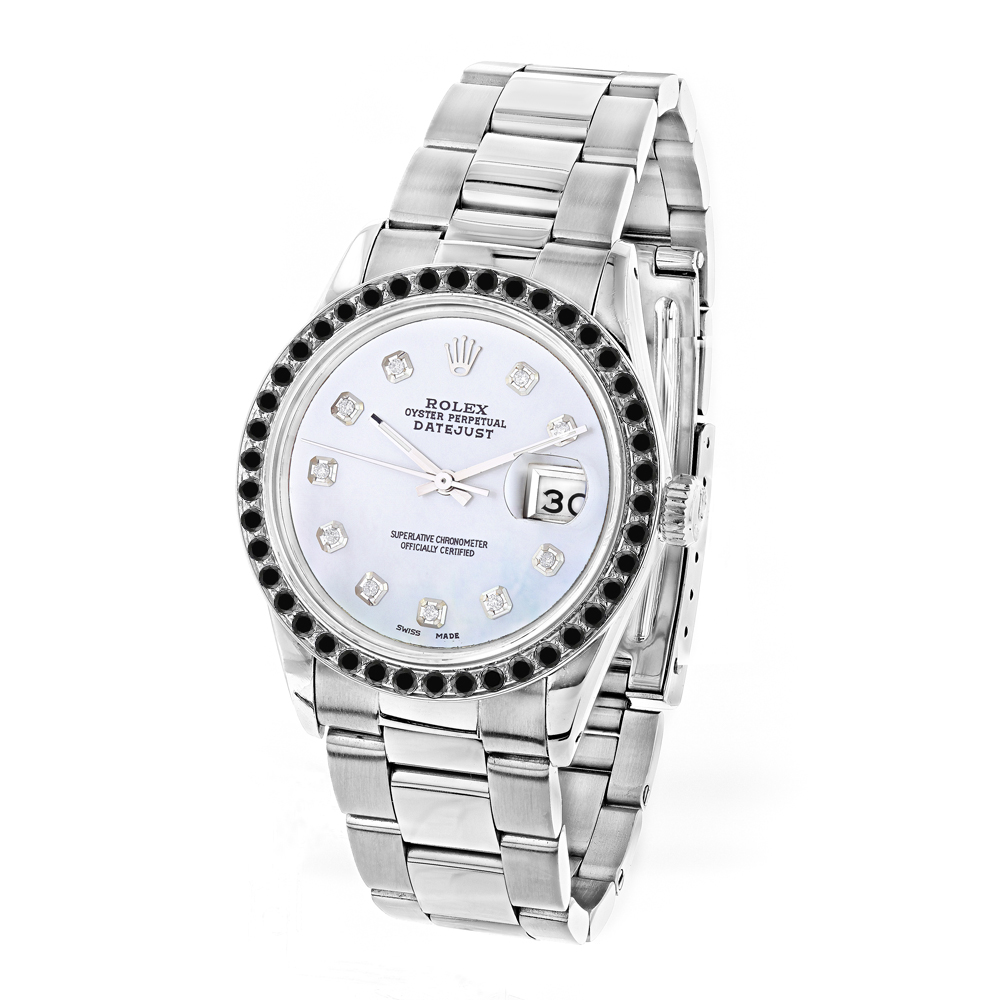 Custom Black Diamond Bezel Rolex Datejust Mens Watch 3ct Main Image