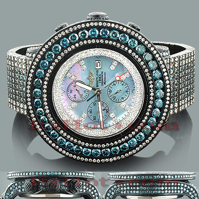 Custom Breitling Super Avenger White Blue Diamond Watch 55.7ct Custom Breitling Super Avenger White Blue Diamond Watch 55.7ct