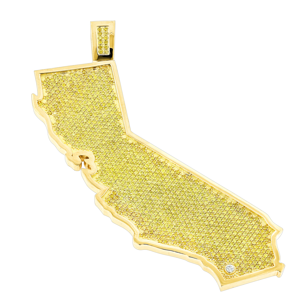Custom California State White Yellow Diamond Pendant 18.2ct 14K Gold  Yellow Image