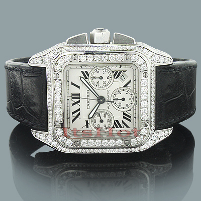 Custom Cartier Mens Diamond Watch 9.64ct Santos 100  Main Image