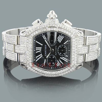 Custom Cartier Roadster Diamond Watch for Men 17.99ct fully Iced Out