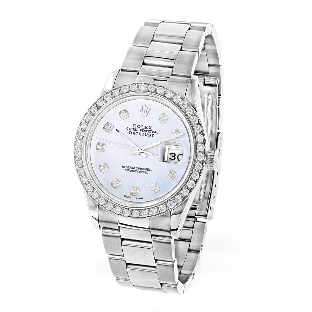 Custom Diamond Bezel Rolex Datejust Mens Watch 36mm 3ct White MOP Face Main Image
