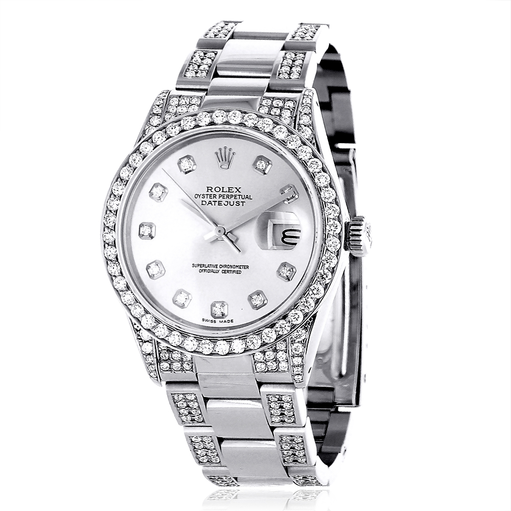 custom diamond bezel rolex datejust mens watch 7 ct. Black Bedroom Furniture Sets. Home Design Ideas