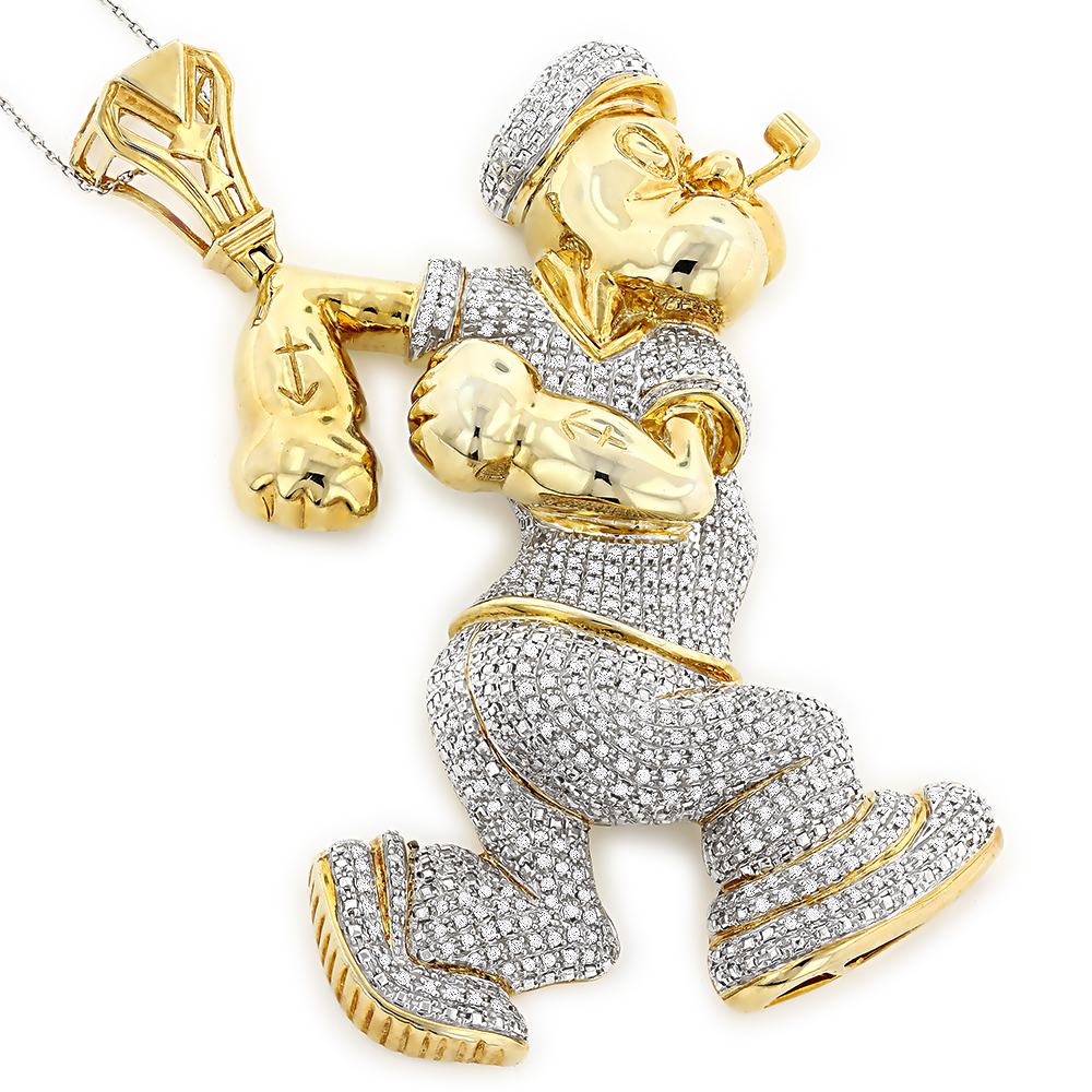 Custom Diamond Popeye Pendant in Sterling Silver 4ct Gold Plated cc23f3473