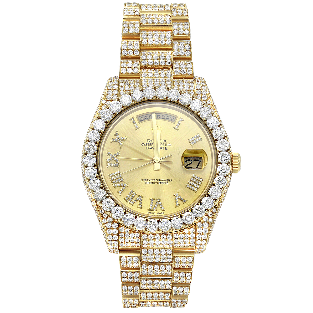 Custom Iced Out 18K Gold Rolex Oyster Perpetual Mens Diamond Watch 20ct