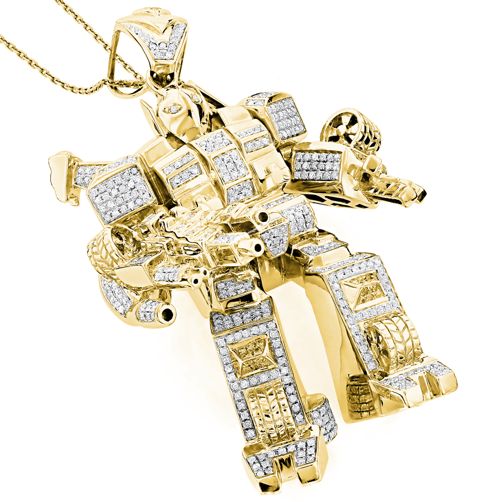 Custom Jewelry: 3-D Transformer Diamond Pendant 1.25ct Gold Plated Yellow Image