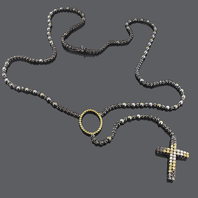 Custom Jewelry: Color Diamond Rosary Necklace 10K Main Image