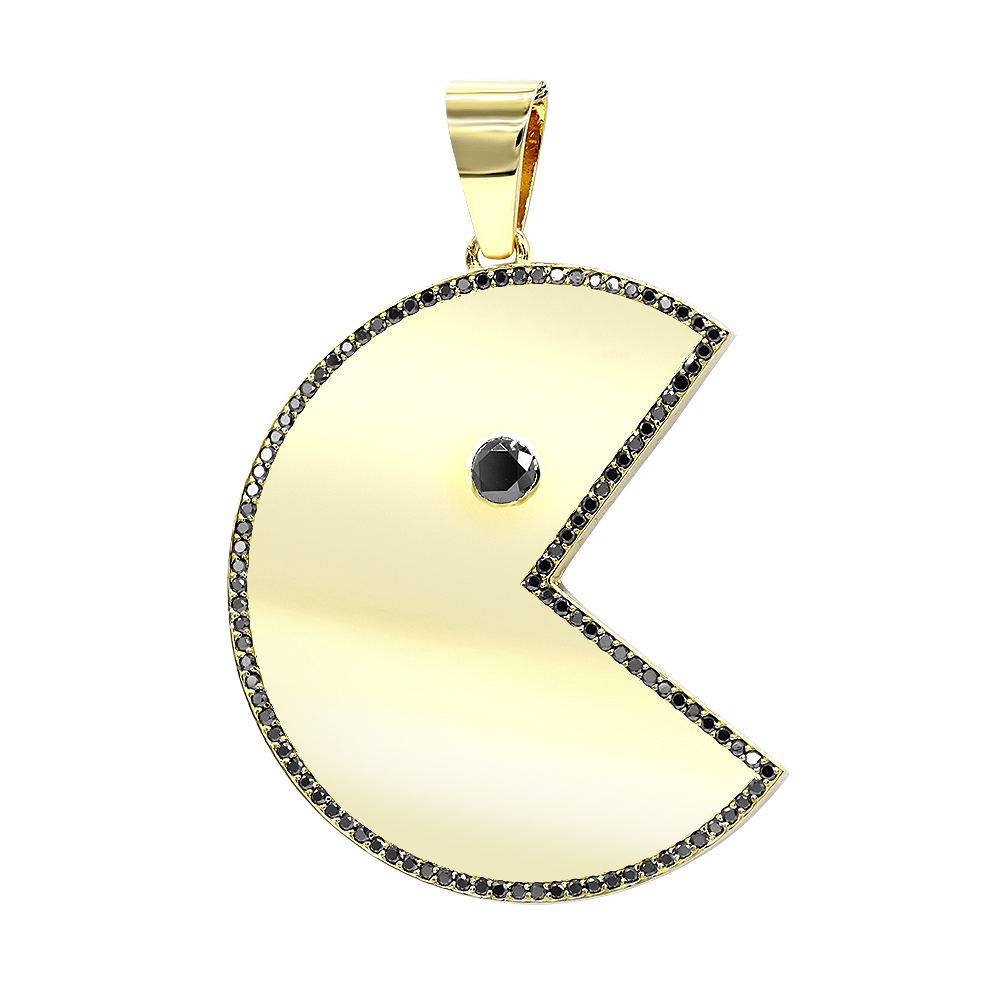 Custom Jewelry - Large Diamond Pacman Pendant for Men in 14k Gold 2 Carat Yellow Image