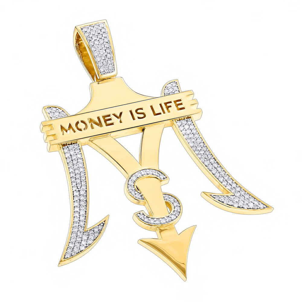 Custom Jewelry: Money is Life Diamond Pendant for Men 10K Gold 4ct Yellow Image