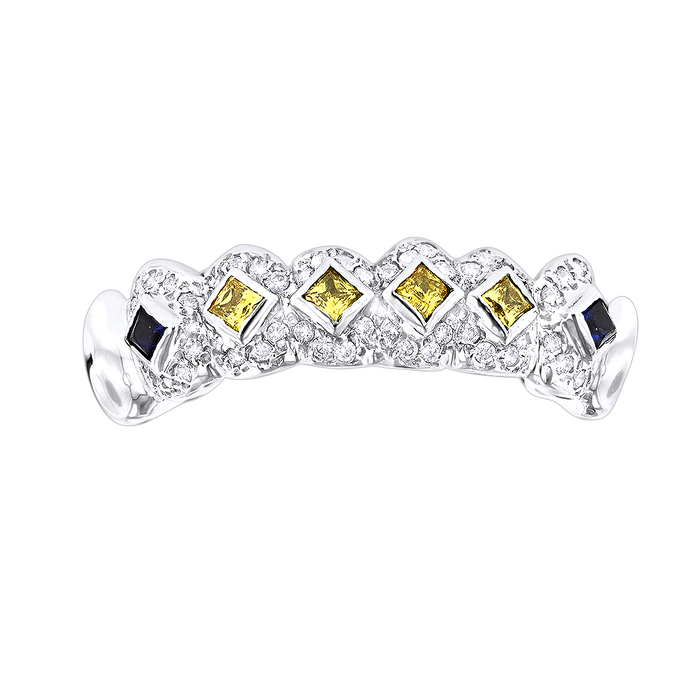 Custom Jewelry: Solid 14K Gold Yellow Diamond Sapphire Grillz 0.94ct White Image