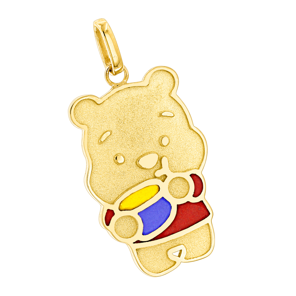 Custom Jewelry: Winnie The Pooh with Honey Pot 18K Gold Enamel Bear Pendant Yellow Image