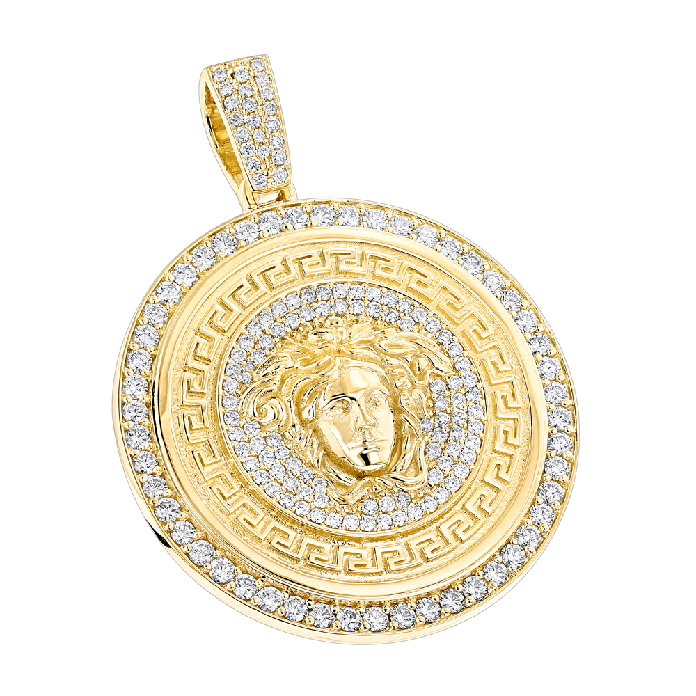 Custom Made Mens Diamond Versace Style Medusa Pendant Medallion 18K Gold 7ct