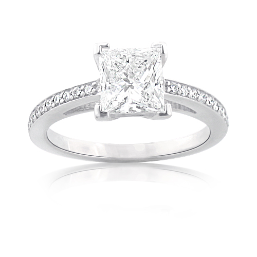 Custom Made Engagement Rings Princess Cut Diamond Ring in Platinum 1 27ct