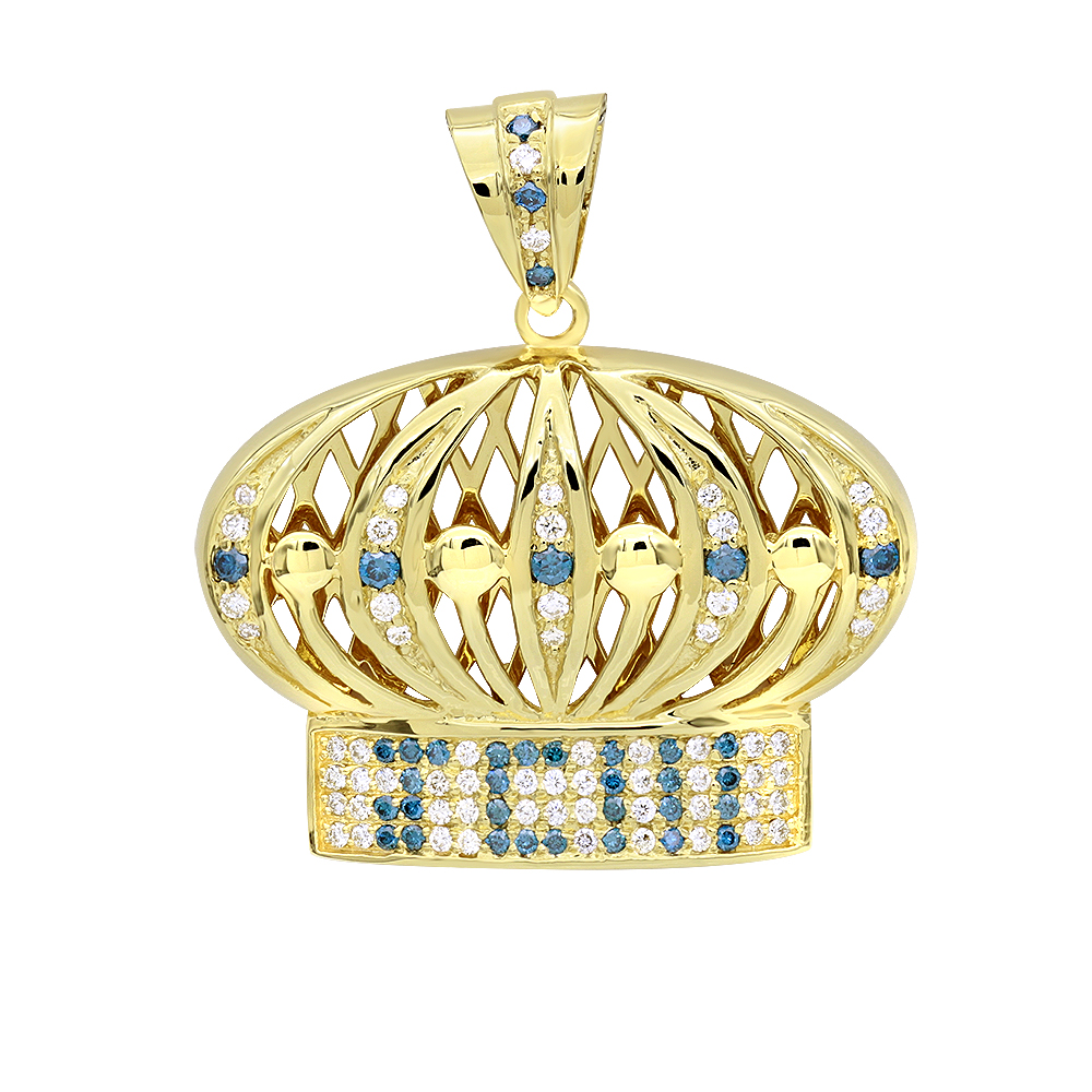 Custom Made Jewelry White Blue Diamond Crown Pendant for Men in