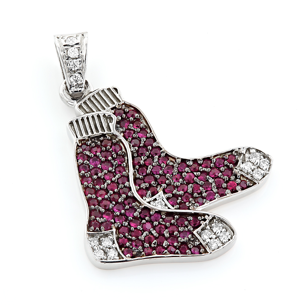 Custom Made Red Socks Pendant with Diamonds and Rubies 0.3ct