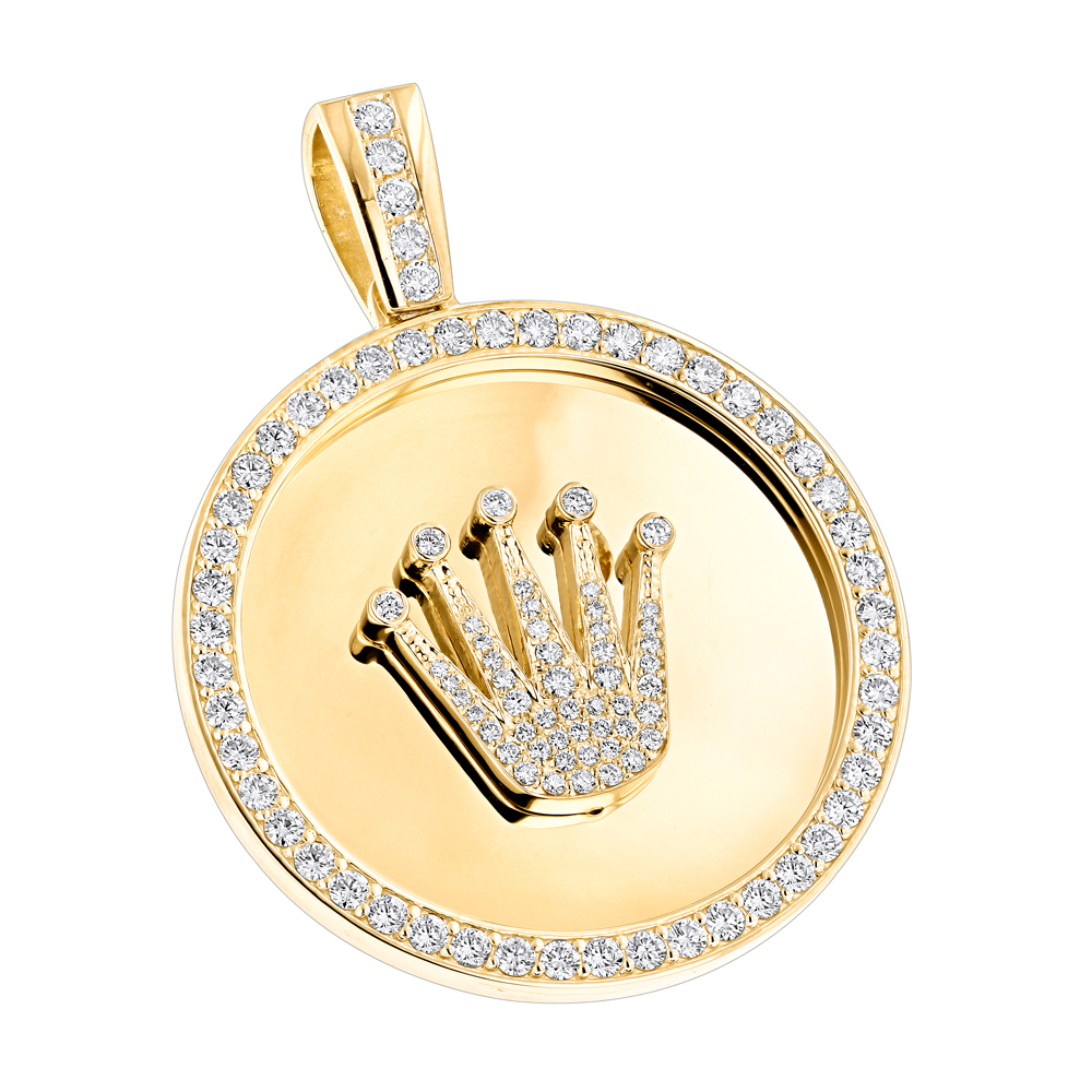Custom Made Solid 18K Gold Crown Diamond Pendant Rolex Style Medallion 6ct Yellow Image