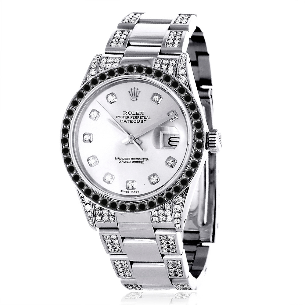 custom white black diamond rolex datejust mens watch 7ct. Black Bedroom Furniture Sets. Home Design Ideas