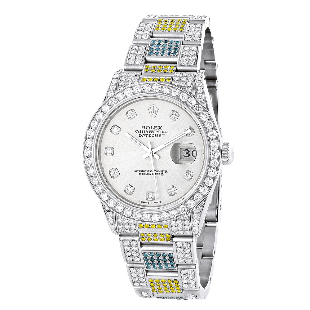 Custom White Blue Yellow Diamond Rolex Datejust Mens Watch 10.3ct Main Image